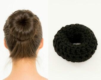 Black Sock Bun Maker / Crocheted Donut Bun Maker, Handmade, Women's, Girls Hair Accessory, Knit, Knitted, Crochet Hair Helper, For Dark Hair