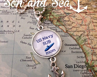 US Navy sub mom pendant necklace by Son and Sea FREE US shipping