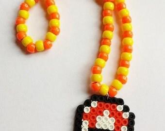 Perler Mushroom Necklace - Orange and Yellow