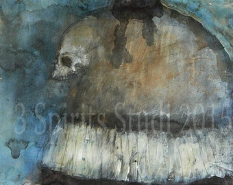"Original contemporary raw art brut outsider Expressionist Mixed Media Painting- ""Vigil"""