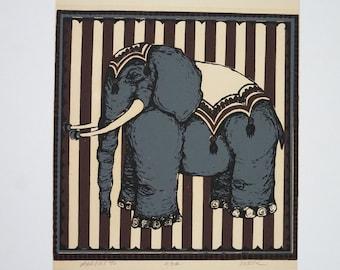 Circus Elephant Vintage Litho Print / Childs Room Decor