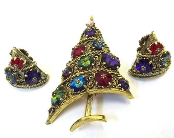 Weiss Christmas Tree Brooch and Earring Set Rivoli Margarita Stones Weiss Christmas Demi Parure Weiss Holiday Tree Brooch Earring Set DD 819