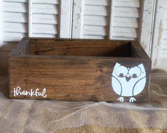 Thankful Owl, Wooden Box, Storage Box, Wedding Centerpiece, Table Centerpiece, Home Decor, Blue Owl