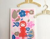 Sweet Riding Hood A3 Art Poster - Kids Print - Illustration Art Print - Original Riso Print - Home Decor