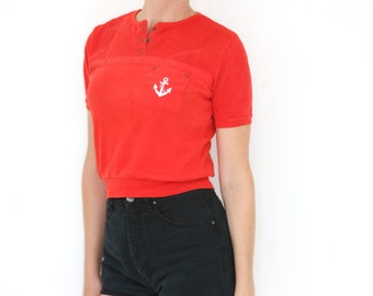Vintage Anchor Embroidered Red Mesh Top Short Sleeves 80s