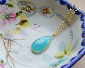 Aqua Chalcedony Necklace // Gold // Long Necklace // Chalcedony Pendant // Summer Accessories