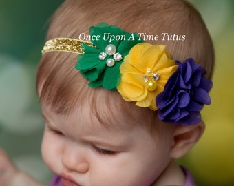 Mardi Gras Chiffon Flower Headband - Newborn Baby Hairbow - Little Girls Hair Bow - Purple Yellow Gold Green - Sparkle Glitter Photo Prop