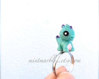 Baby Dinosaur Ring. Green and Purple Dinosaur. Cute Kawaii Jewelry. Silver Adjustable Ring Band. Under 10 Gifts for Her. Whimsical Adorable