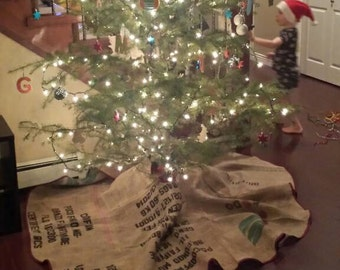 Upcycled Burlap Christmas Tree Skirt 36 inch diameter, with red bias tape binding, Eco Friendly Home Decor