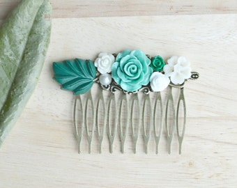 Mint and Green Flower Hair Comb Vintage Style Hair Comb Wedding Hair Piece Roses and Leaves