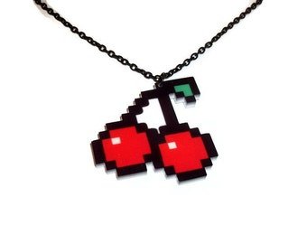 Pixel Cherry Necklace, Laser Cut Acrylic Cherries, Retro Gaming Jewelry