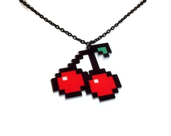 Pixel Cherry Necklace, Laser Cut Acrylic Cherries, Retro Gaming Jewelry