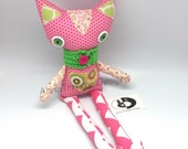 Pink Calico Cat Doll with crocheted scarf, Handmade Fabric Doll toy cat with green ears, Kitty Cat Birthday present, shelf sitter