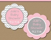 Baby Shower Party Tags Instant Download - Pink Grey Party Favor Tags - Chevron EDITABLE Baby Shower Labels - Birthday, Bridal Shower PGCD