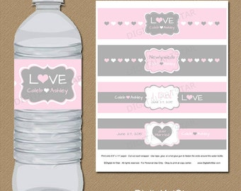 Personalized Blush Pink and Grey Wedding Water Bottle Labels - Printable Drink Wraps - Digital Party Decor - Bridal Water Bottle Wrappers