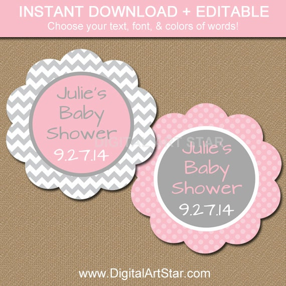 baby shower party tags instant download pink by digitalartstar