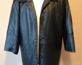Vintage Womens RETRO Long Burgundy Brown LEATHER COAT size L New England Sportswear