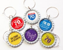 70th Birthday, 70th charms, Wine Charms, Wine Glass Charms, barware, Seventy, 70th, birthday, humor, birthday party, party supplies (5047)