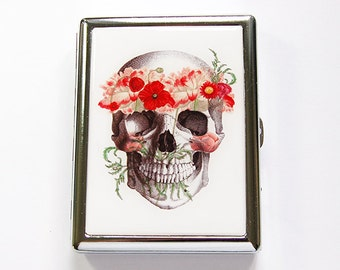 Skull Cigarette Case, Metal cigarette case, Metal Wallet, Cigarette box, Dia de los Muertos, Skull with Flowers, Day of the Dead (4886)
