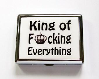 Cigarette box, Cigarette Case, Metal cigarette case, Metal Wallet, King of Everything, Funny, humor, Funny cigarette case (4889)