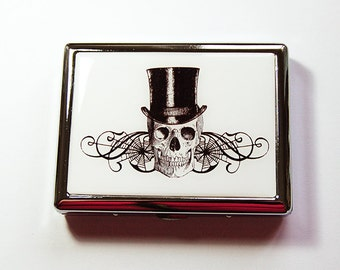 Cigarette Case, Metal cigarette case, Cigarette box, Case for Smokes, Skull, Skull with Top Hat, Black, White, Day of the Dead (4908)