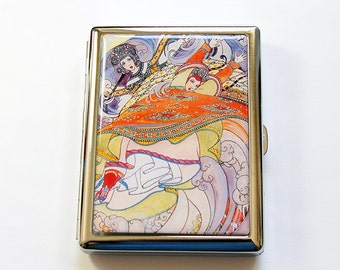 Cigarette Case, Cigarette box, Metal cigarette case, Metal Wallet, Fantasy, Retro Design, Case for smokes (5068)