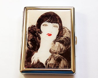 Cigarette box, Cigarette Case, Metal cigarette case, Metal Wallet, Woman Smoking, Case for smokes, Flapper Smoking, Retro Design (5070)