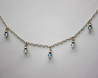 Aqua Beaded Necklace with Swarovski Crystals, Sterling Silver Chain