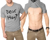 MENS Ask Me For a Bear Hug Flip T-Shirt animal lover shirt, perfect for guys and boys, back to school in style, pet, zoologist, zoo S-5XL