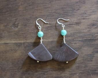 Marble Fan and Magnesite Dangle Earrings