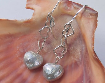 Heart Pearl Earrings .  Sterling Silver