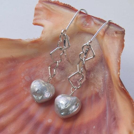 Heart Shaped Pearl Earrings     Romantic Gift   Sterling Silver Dangle Earrings