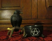 Pentagram/Spiral Scrying Bowl ~ Hydromancy, Soapstone, Pentacle, Witchery, Altar, Ritual, Gypsy, Seer, water, elements, dish, Apothecary
