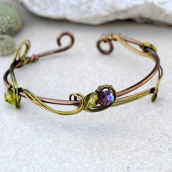 Olive green bangle Copper wire bracelet arm cuff Casual Nature jewelry anniversary gift for her girlfriend mother simple elegant