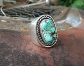 Vintage Sterling Silver Turquoise Ring Native American Size 11 Mens