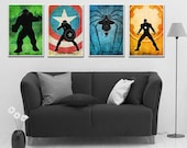 Superheroes  Poster Set, .Avengers 4 Minimalist Poster Set, Captain America, Hulk, Iron man,spider man Movie Poster,Art Print.Christmas Gift