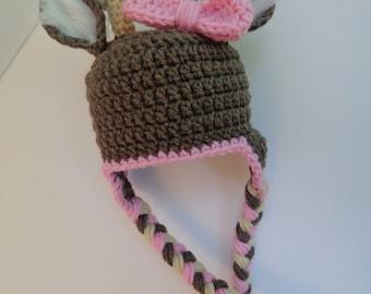 Newborn Crochet Girl Deer Hat, animal hat, knit hat, Photo prop, girl hat