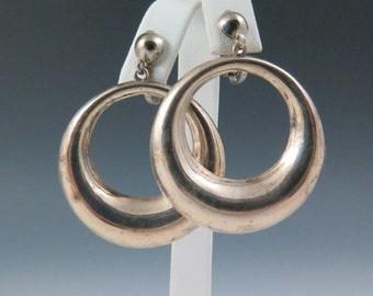 Vintage Mexico Puffed Sterling Silver Hoop Earrings