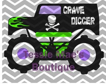 Monster Truck Grave Digger Inspired Digital Design
