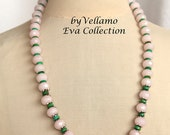 Pastel necklace with faceted light pink rose quartz and green turquoise stones, light soft pink stone necklace