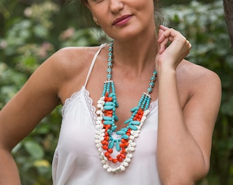 Statement necklace with teardrop shaped blue, white and orange howlite turquoise beads, multi strand colorful stone necklace, summer perfect