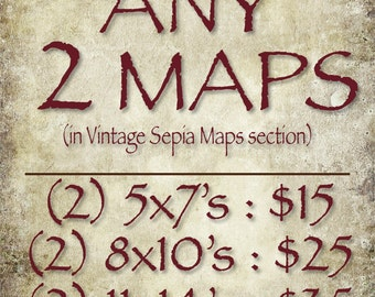 ANY TWO (2) Vintage Sepia Maps (in the Vintage Sepia Maps section of this Shop)