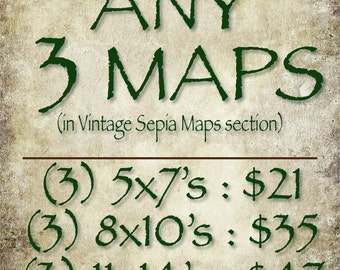 ANY THREE (3) Vintage Sepia Maps (in the Vintage Sepia Maps section of this Shop)