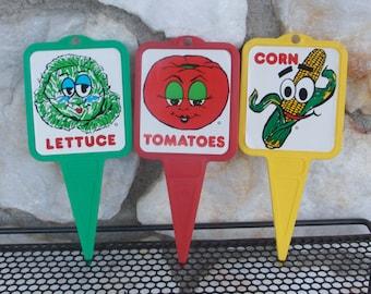 Vintage Vegiemarx Anthropomorphic Vegetable Garden Markers Stakes Lettuce Corn Tomatoes