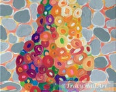 Pear Painting Fruit Coral Gray Lime Colorful Original Art Canvas 11 x 14