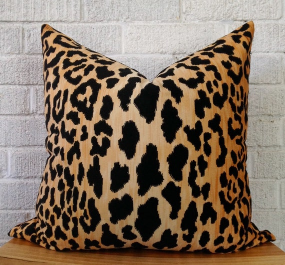 Animal Print Needlepoint Pillows : Velvet Cheetah Pillow Cover Square leopard black gold animal