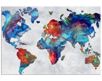Colorful World Map Art 'Beauty of Color v2.3' Rainbow Map Artwork, Abstract Earth Global Art, Modern Metal Painting Giclée - Megan Duncanson