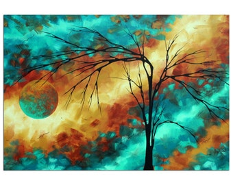 Turquoise & Gold Tree Art 'Reaching for the Moon' Contemporary Wall Decor, Abstract Landscape Artwork, Modern Tree Painting Metal Giclée Art