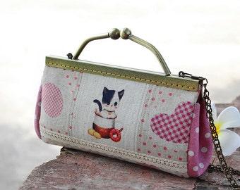 Clutch cat hand dyed / Clutch wallet / Handle clutch purse