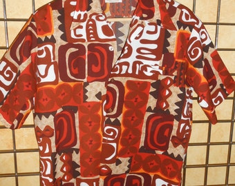 Vintage 1960s Barefoot Paradise Retro Style Hawaiian Shirt, Made in Hawaii Brown, Rust, Mustard Yellow, White